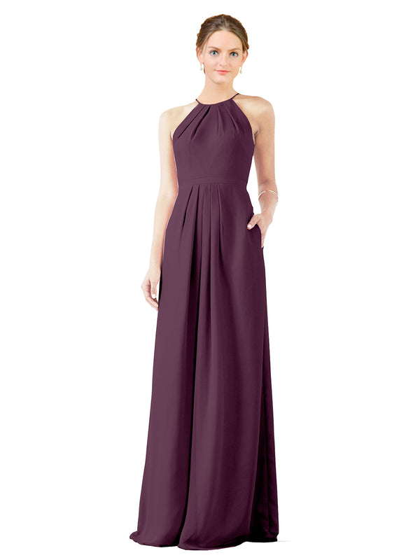 Mila Gowns Emma Long Sheath High Neck Halter Chiffon Grape Bridesmaid Dress Floor Length Keyhole Sleeveless 174018
