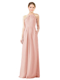 Mila Gowns Emma Long Sheath High Neck Halter Chiffon Ice Pink Bridesmaid Dress Floor Length Keyhole Sleeveless 174018