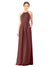 Mila Gowns Emma Long Sheath High Neck Halter Chiffon Marsala Bridesmaid Dress Floor Length Keyhole Sleeveless 174018