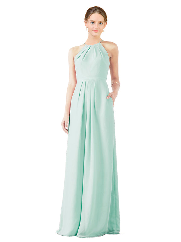 Mila Gowns Emma Long Sheath High Neck Halter Chiffon Mint Green Bridesmaid Dress Floor Length Keyhole Sleeveless 174018