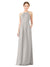 Mila Gowns Emma Long Sheath High Neck Halter Chiffon Oyster Silver Bridesmaid Dress Floor Length Keyhole Sleeveless 174018