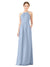 Mila Gowns Emma Long Sheath High Neck Halter Chiffon Periwinkle Bridesmaid Dress Floor Length Keyhole Sleeveless 174018