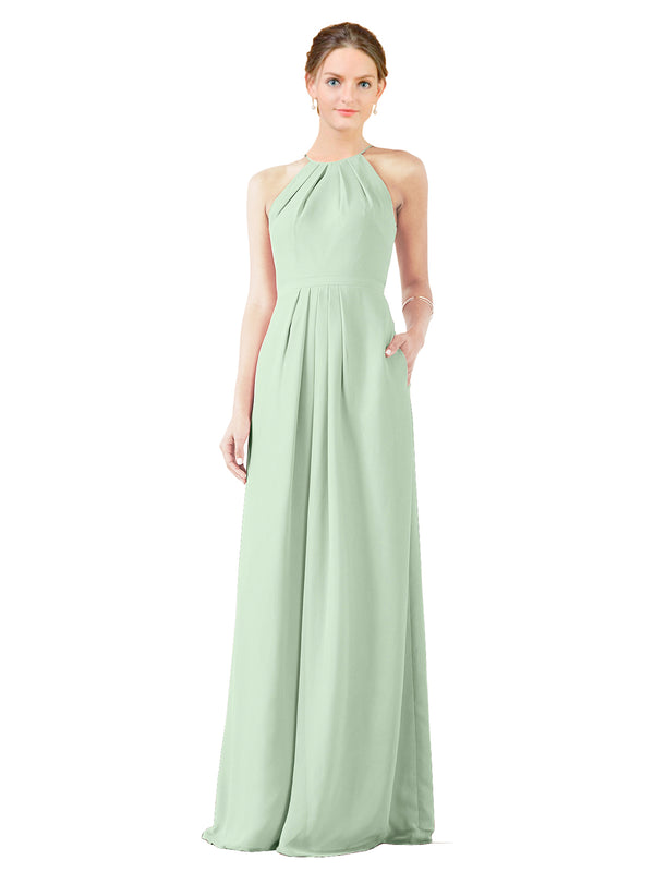 Mila Gowns Emma Long Sheath High Neck Halter Chiffon Sage Bridesmaid Dress Floor Length Keyhole Sleeveless 174018
