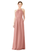 Mila Gowns Emma Long Sheath High Neck Halter Chiffon Salmon Bridesmaid Dress Floor Length Keyhole Sleeveless 174018
