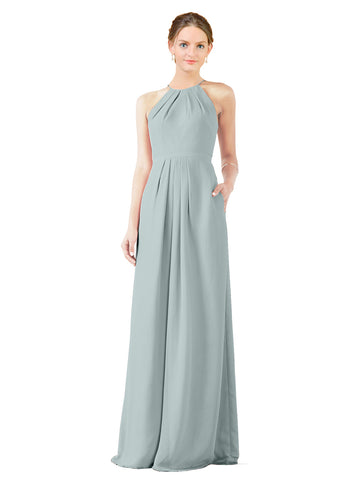 Mila Gowns Emma Long Sheath High Neck Halter Chiffon Seaside Bridesmaid Dress Floor Length Keyhole Sleeveless 174018