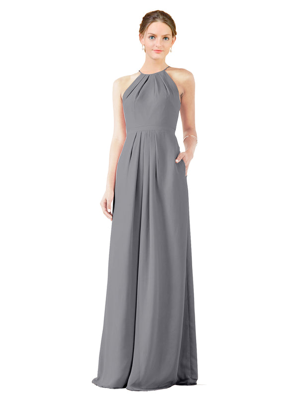 Mila Gowns Emma Long Sheath High Neck Halter Chiffon Slate Grey Bridesmaid Dress Floor Length Keyhole Sleeveless 174018