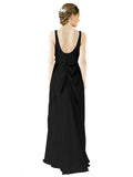 Mila Gowns Evelyn Long A-Line Scoop Chiffon Black Bridesmaid Dress Floor Length Open Back Sleeveless 174026