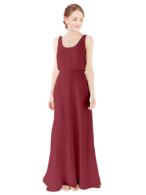 Mila Gowns Evelyn Long A-Line Scoop Chiffon Burgundy Bridesmaid Dress Floor Length Open Back Sleeveless 174026