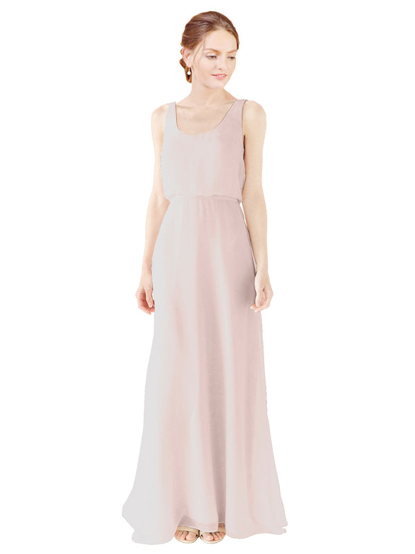 Mila Gowns Evelyn Long A-Line Scoop Chiffon Champagne 42 Bridesmaid Dress Floor Length Open Back Sleeveless 174026