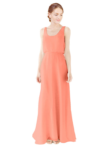 Mila Gowns Evelyn Long A-Line Scoop Chiffon Coral Bridesmaid Dress Floor Length Open Back Sleeveless 174026