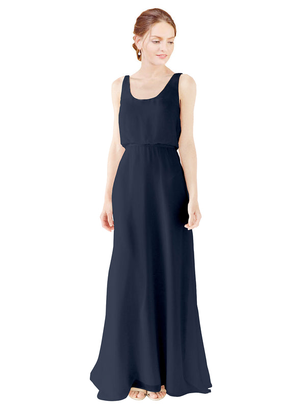 Mila Gowns Evelyn Long A-Line Scoop Chiffon Dark Navy Bridesmaid Dress Floor Length Open Back Sleeveless 174026