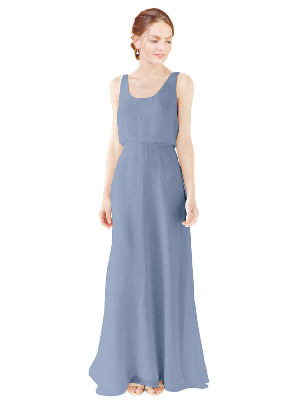 Mila Gowns Evelyn Long A-Line Scoop Chiffon Dusty Blue Bridesmaid Dress Floor Length Open Back Sleeveless 174026