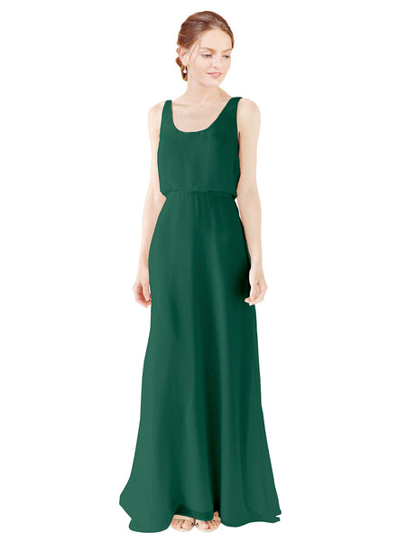 Mila Gowns Evelyn Long A-Line Scoop Chiffon Ever Green Bridesmaid Dress Floor Length Open Back Sleeveless 174026