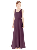 Mila Gowns Evelyn Long A-Line Scoop Chiffon Grape Bridesmaid Dress Floor Length Open Back Sleeveless 174026