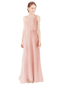 Mila Gowns Evelyn Long A-Line Scoop Chiffon Ice Pink Bridesmaid Dress Floor Length Open Back Sleeveless 174026