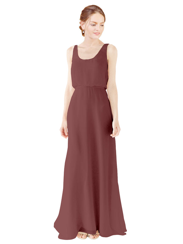 Mila Gowns Evelyn Long A-Line Scoop Chiffon Marsala Bridesmaid Dress Floor Length Open Back Sleeveless 174026