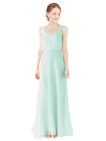 Mila Gowns Evelyn Long A-Line Scoop Chiffon Mint Green Bridesmaid Dress Floor Length Open Back Sleeveless 174026
