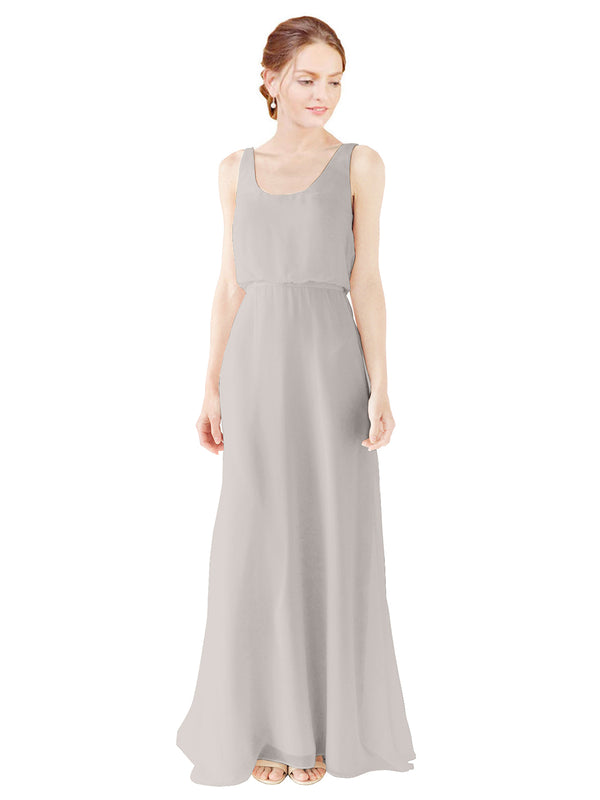 Mila Gowns Evelyn Long A-Line Scoop Chiffon Oyster Silver Bridesmaid Dress Floor Length Open Back Sleeveless 174026