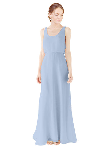 Mila Gowns Evelyn Long A-Line Scoop Chiffon Periwinkle Bridesmaid Dress Floor Length Open Back Sleeveless 174026