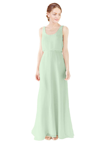 Mila Gowns Evelyn Long A-Line Scoop Chiffon Sage Bridesmaid Dress Floor Length Open Back Sleeveless 174026