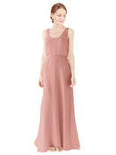 Mila Gowns Evelyn Long A-Line Scoop Chiffon Salmon Bridesmaid Dress Floor Length Open Back Sleeveless 174026