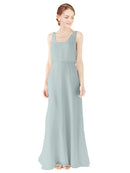Mila Gowns Evelyn Long A-Line Scoop Chiffon Seaside Bridesmaid Dress Floor Length Open Back Sleeveless 174026