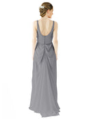 Mila Gowns Evelyn Long A-Line Scoop Chiffon Slate Grey Bridesmaid Dress Floor Length Open Back Sleeveless 174026