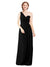Mila Gowns Harper Long A-Line One Shoulder Sweetheart Chiffon Black Bridesmaid Dress Floor Length Sleeveless 174027