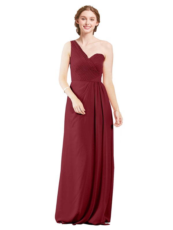 Mila Gowns Harper Long A-Line One Shoulder Sweetheart Chiffon Burgundy Bridesmaid Dress Floor Length Sleeveless 174027