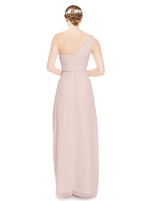 Mila Gowns Harper Long A-Line One Shoulder Sweetheart Chiffon Champagne 42 Bridesmaid Dress Floor Length Sleeveless 174027