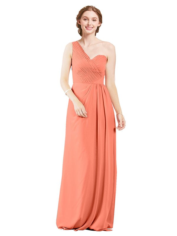Mila Gowns Harper Long A-Line One Shoulder Sweetheart Chiffon Coral Bridesmaid Dress Floor Length Sleeveless 174027