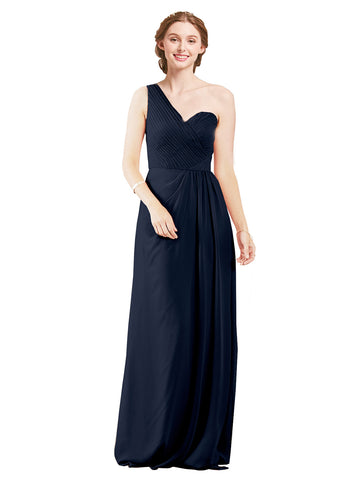 Mila Gowns Harper Long A-Line One Shoulder Sweetheart Chiffon Dark Navy Bridesmaid Dress Floor Length Sleeveless 174027
