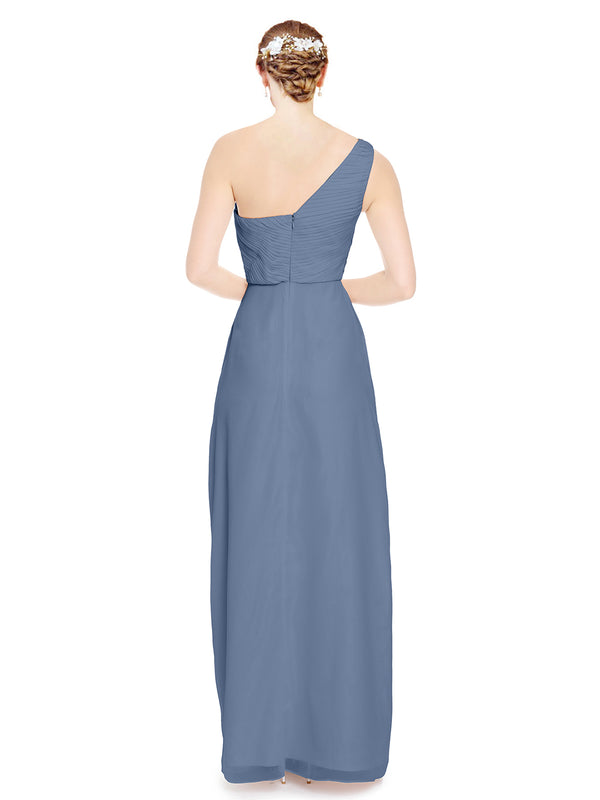 Mila Gowns Harper Long A-Line One Shoulder Sweetheart Chiffon Dusty Blue Bridesmaid Dress Floor Length Sleeveless 174027