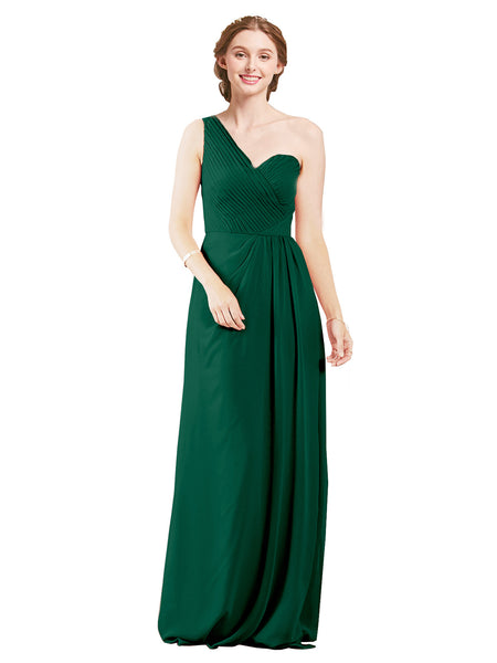 Mila Gowns Harper Long A-Line One Shoulder Sweetheart Chiffon Ever Green Bridesmaid Dress Floor Length Sleeveless 174027