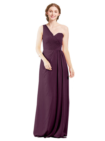 Mila Gowns Harper Long A-Line One Shoulder Sweetheart Chiffon Grape Bridesmaid Dress Floor Length Sleeveless 174027
