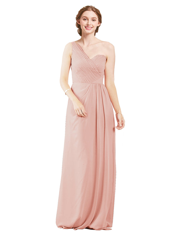 Mila Gowns Harper Long A-Line One Shoulder Sweetheart Chiffon Ice Pink Bridesmaid Dress Floor Length Sleeveless 174027