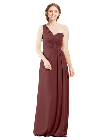 Mila Gowns Harper Long A-Line One Shoulder Sweetheart Chiffon Marsala Bridesmaid Dress Floor Length Sleeveless 174027