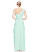 Mila Gowns Harper Long A-Line One Shoulder Sweetheart Chiffon Mint Green Bridesmaid Dress Floor Length Sleeveless 174027