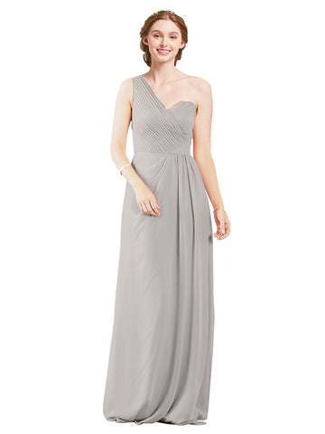 Mila Gowns Harper Long A-Line One Shoulder Sweetheart Chiffon Oyster Silver Bridesmaid Dress Floor Length Sleeveless 174027