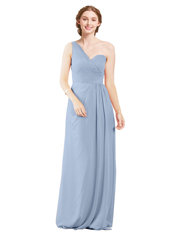 Mila Gowns Harper Long A-Line One Shoulder Sweetheart Chiffon Periwinkle Bridesmaid Dress Floor Length Sleeveless 174027