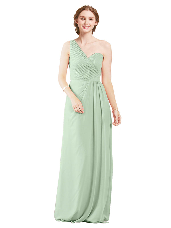 Mila Gowns Harper Long A-Line One Shoulder Sweetheart Chiffon Sage Bridesmaid Dress Floor Length Sleeveless 174027