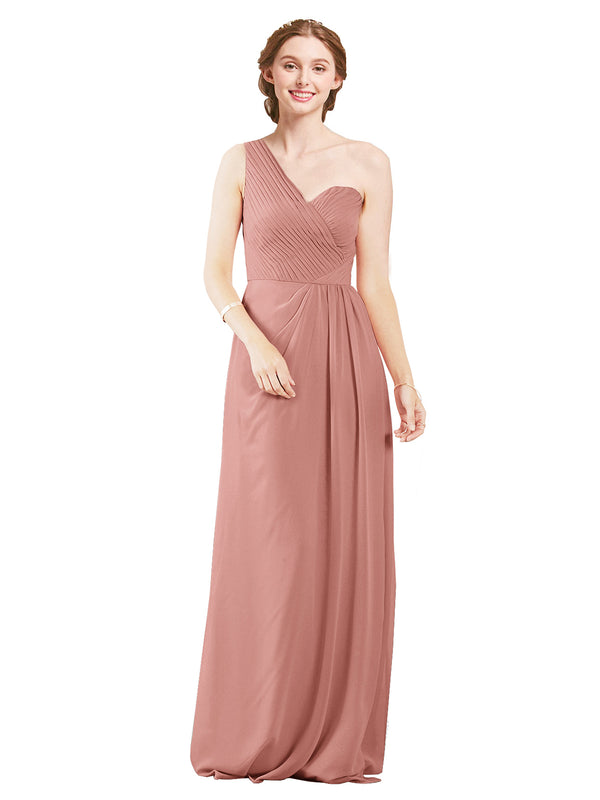 Mila Gowns Harper Long A-Line One Shoulder Sweetheart Chiffon Salmon Bridesmaid Dress Floor Length Sleeveless 174027