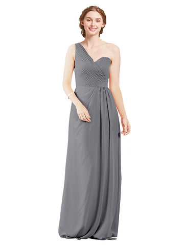 Mila Gowns Harper Long A-Line One Shoulder Sweetheart Chiffon Slate Grey Bridesmaid Dress Floor Length Sleeveless 174027