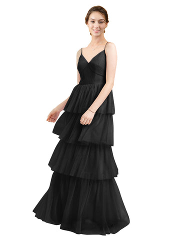 Mila Gowns Hazel Long A-Line V-Neck Tulle Black Bridesmaid Dress Floor Length Sleeveless 174058