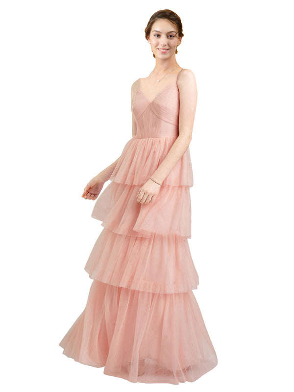 Mila Gowns Hazel Long A-Line V-Neck Tulle Blush 84 Bridesmaid Dress Floor Length Sleeveless 174058