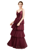 Mila Gowns Hazel Long A-Line V-Neck Tulle Burgundy Bridesmaid Dress Floor Length Sleeveless 174058