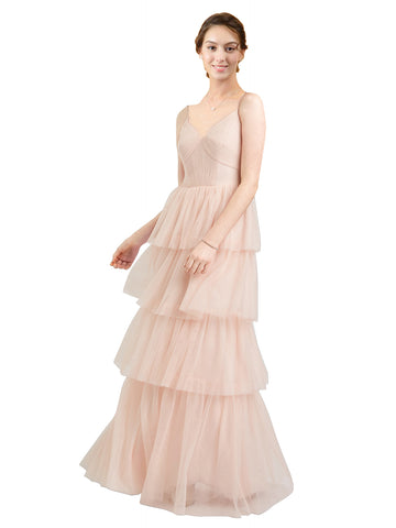 Mila Gowns Hazel Long A-Line V-Neck Tulle Pink Bridesmaid Dress Floor Length Sleeveless 174058