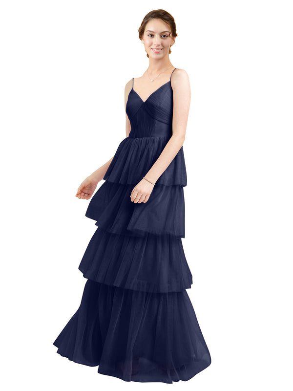 Mila Gowns Hazel Long A-Line V-Neck Tulle Navy Blue 21 Bridesmaid Dress Floor Length Sleeveless 174058