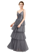 Mila Gowns Hazel Long A-Line V-Neck Tulle Slate Grey 127 Bridesmaid Dress Floor Length Sleeveless 174058