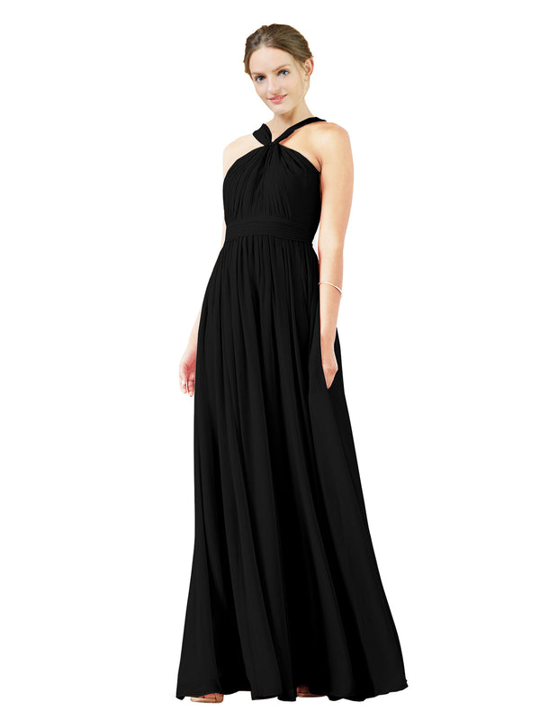 Mila Gowns Isabella Long A-Line V-Neck Chiffon Black Bridesmaid Dress Floor Length Sleeveless 174021